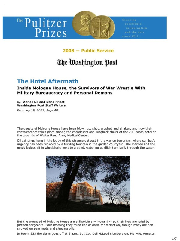 """Washington Post article titled, """"The Hotel Aftermath."""" Written by Anne Hull and Dana Priest."""