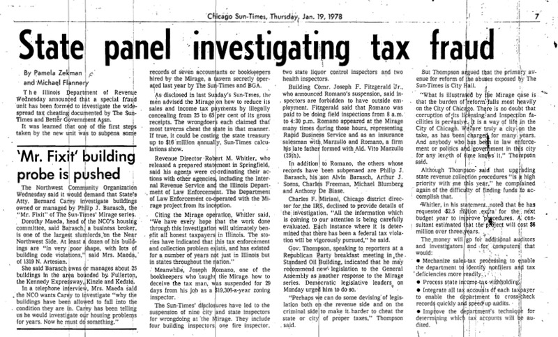 """Chicago Sun-Times article titled """"State Panel Investigating Tax Fraud."""" Written by Pamela Zekman and Michael Flannery as part of the Mirage Reaction."""