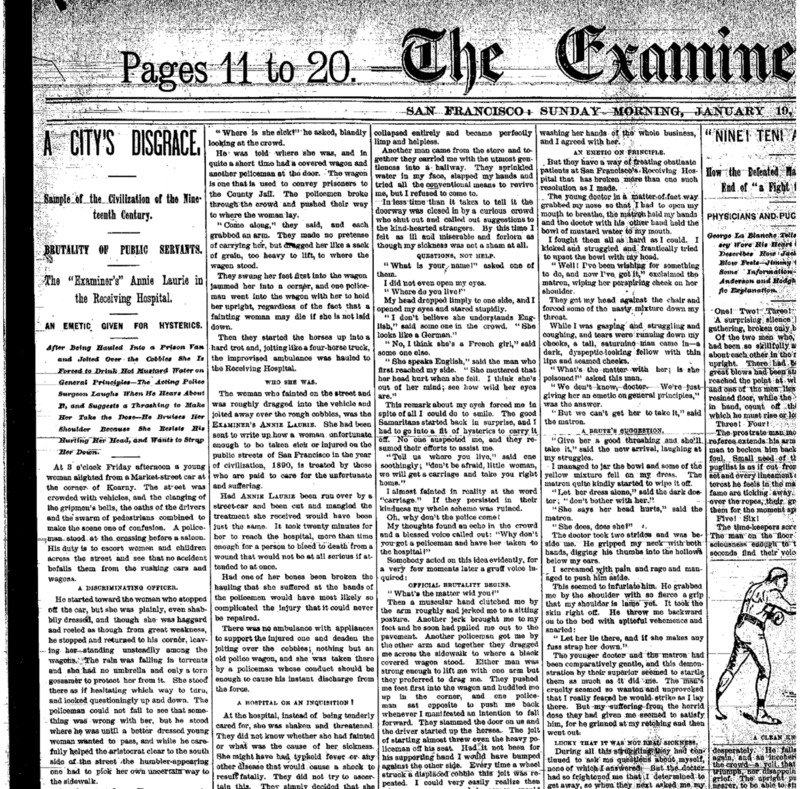 """San Francisco Examiner article titled, """"A City's Disgrace."""" Written by Annie Laurie."""