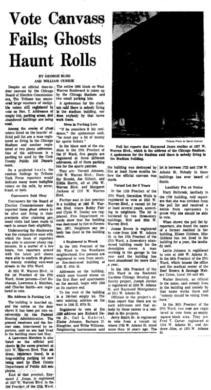 "Chicago Tribune article titled, ""Vote Canvass Fails; Ghosts Haunt Rolls."" Written by George Bliss and William Currie as part of the Task Force Vote Fraud Investigation."