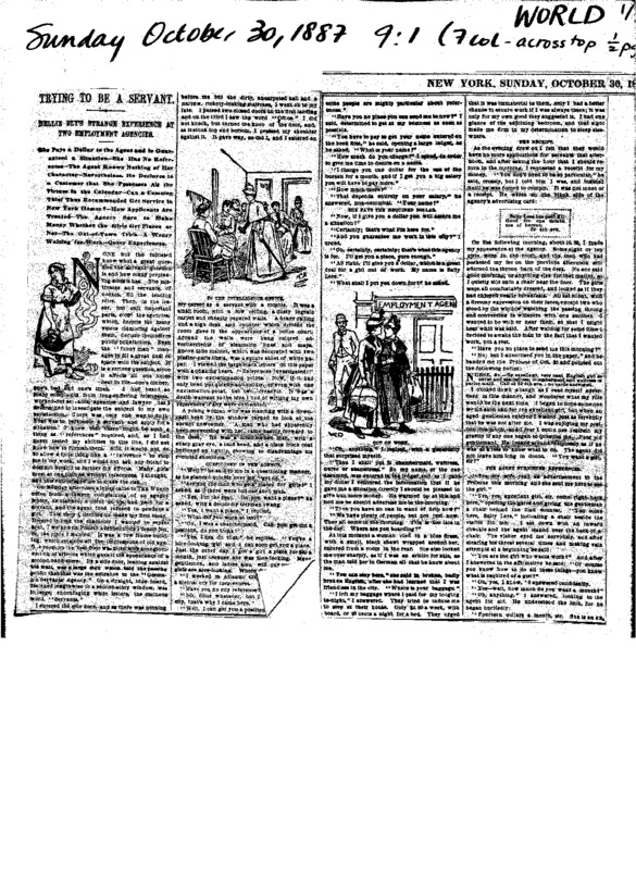 "Nellie Bly's article ""Trying to be a Servant,"" written for The New York World in 1887. Complete with multiple illustrations."