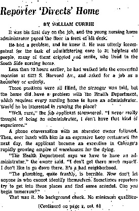 """Chicago Tribune article titled, """"Reporter 'Directs' Home."""" Written by William Currie as part of the nursing home exposé."""