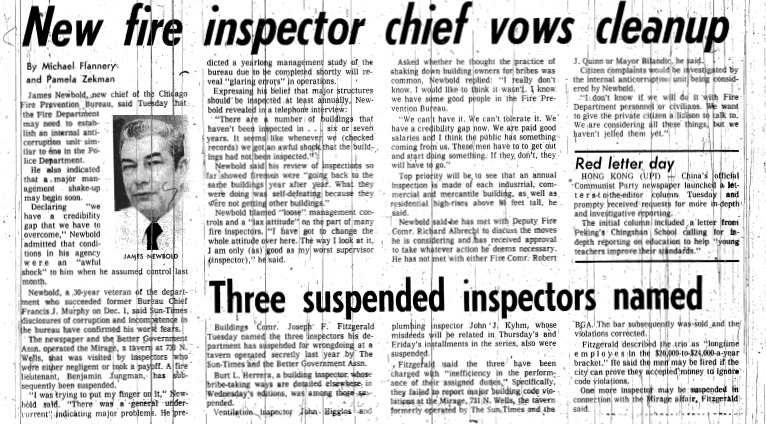 "Chicago Sun-Times article titled, ""New Fire Inspector Chief Vows Cleanup."" Written in 1978 by Michael Flannery and Pamela Zekman as part of the Mirage Reaction."