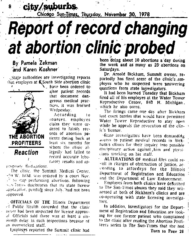 "Chicago Sun-Times article titled, ""Report of Record Changing at Abortion Clinic Probed."" Written by Pamela Zekman and Karen Koshner as part of the reaction to the paper's ""Abortion Profiteers"" series."