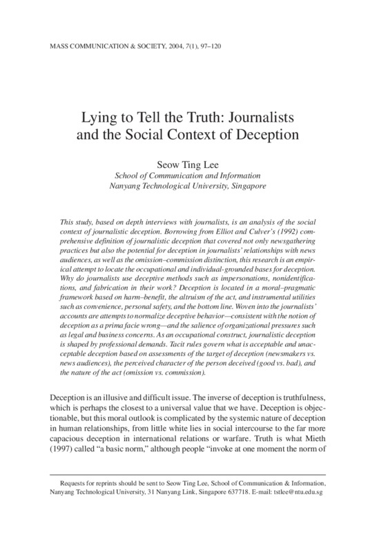 document titled: Lying to Tell the Truth: Journalists and the Social Context of Deception