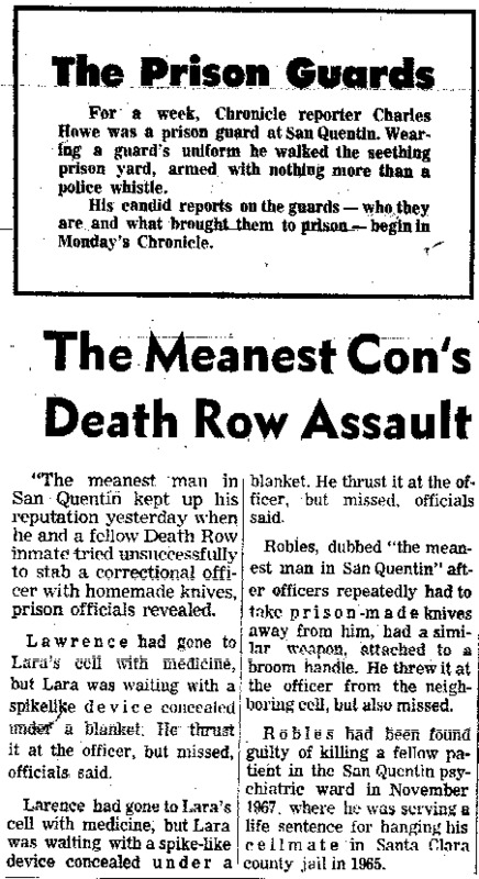 "San Francisco Chronicle article titled, ""The Meanest Con's Death Row Assault."" Written as part of the ""Behind Prison Bars"" series."