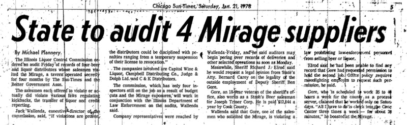 "Chicago Sun-Times article titled ""State to Audit 4 Mirage Suppliers."" Written by Michael Flannery as part of the Mirage Reaction."