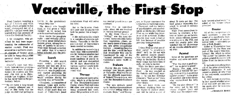 """San Francisco Chronicle article titled, """"Behind Prison Bars: Vacaville, The First Stop."""" Written by Charles Howe as part of a series."""
