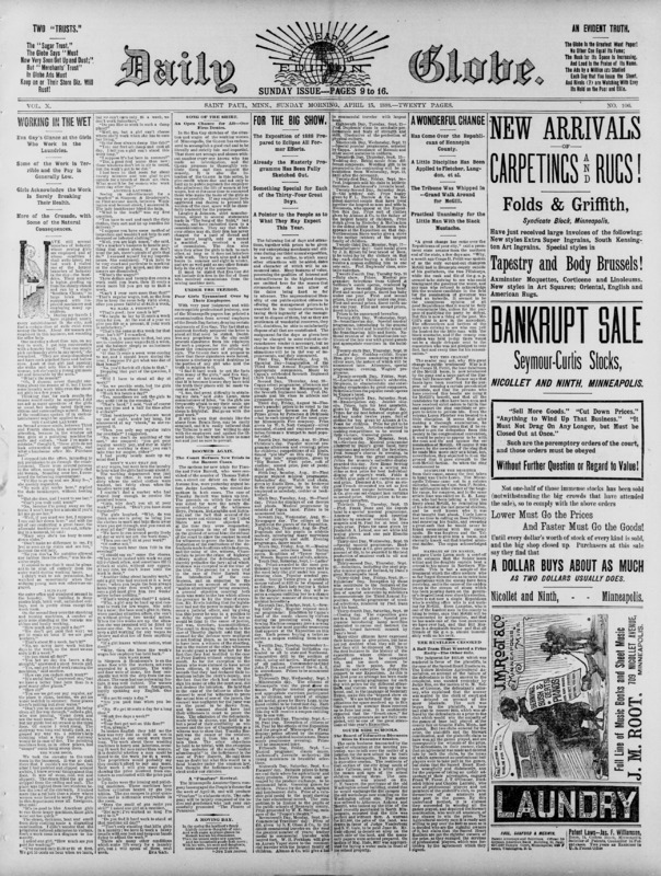 Front page of the Sunday issue of the Daily Globe