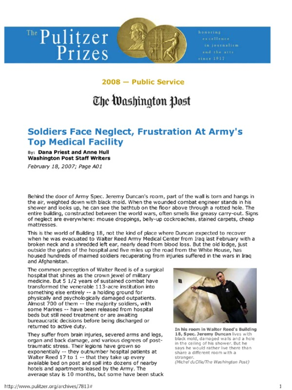 """Washington Post article titled, """"Soldiers Face Neglect, Frustration at Army's Top Medical Facility."""" Written by Dana Priest and Anne Hull."""