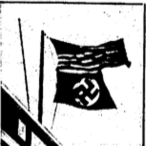 "Picture of a Nazi flag accompany James J. Metcalfe and John C. Metcalfe's article titled, ""Ex G-Man Finds Friction in Nazi Ranks."""