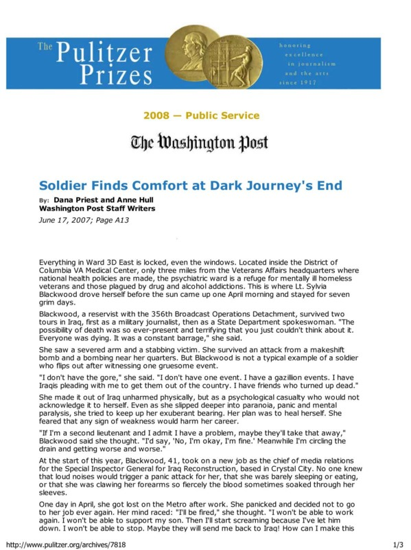 """Washington Post article titled, """"Soldier Finds Comfort at Dark Journey's End."""" Written by Anne Hull and Dana Priest."""