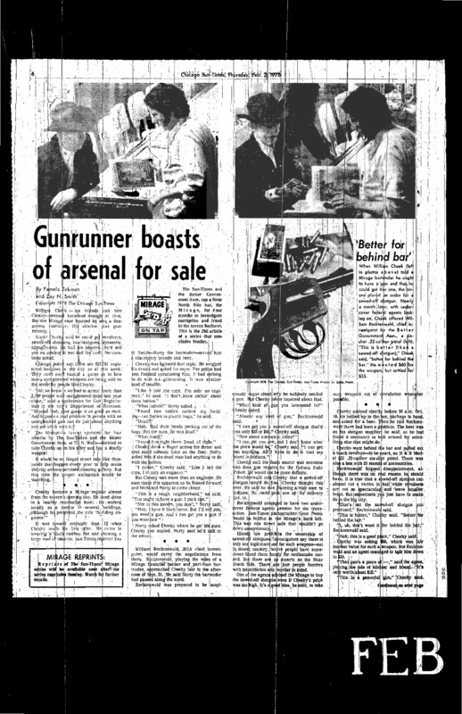"""Chicago Sun-Times article titled, """"Gunrunner Boasts of Arsenal for Sale."""" Written by Pamela Zekman and Zay N. Smith as part of the Mirage Tavern Sting series."""