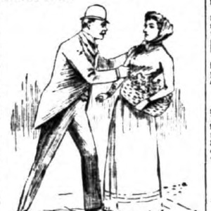 Sketch of a man grabbing the arm of a woman holding a basket