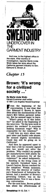 "Los Angeles Herald Examiner article titled, ""Brown: 'It's wrong for a civilized society...'"" Written by Merle Linda Wolin."