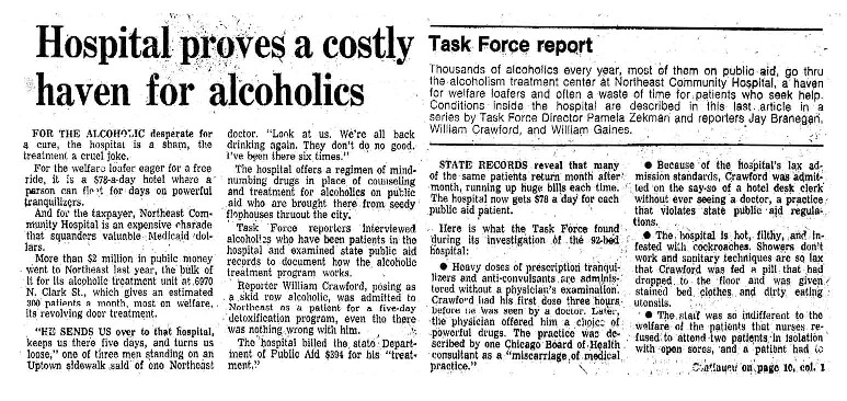 "Chicago Tribune article titled, ""Hospital Proves a Costly Haven for Alcoholics."" Written by the Task Force Report Team as part of the Task Force Report."