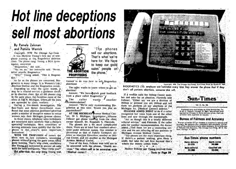 """Chicago Sun-Times article titled, """"Hot Line Deceptions Sell Most Abortions."""" Written by Pamela Zekman and Pamela Warrick as part of the """"Abortion Profiteers"""" series."""