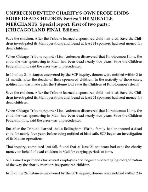 The Tribune researched more about the sponsors who had been sending money for dead children.