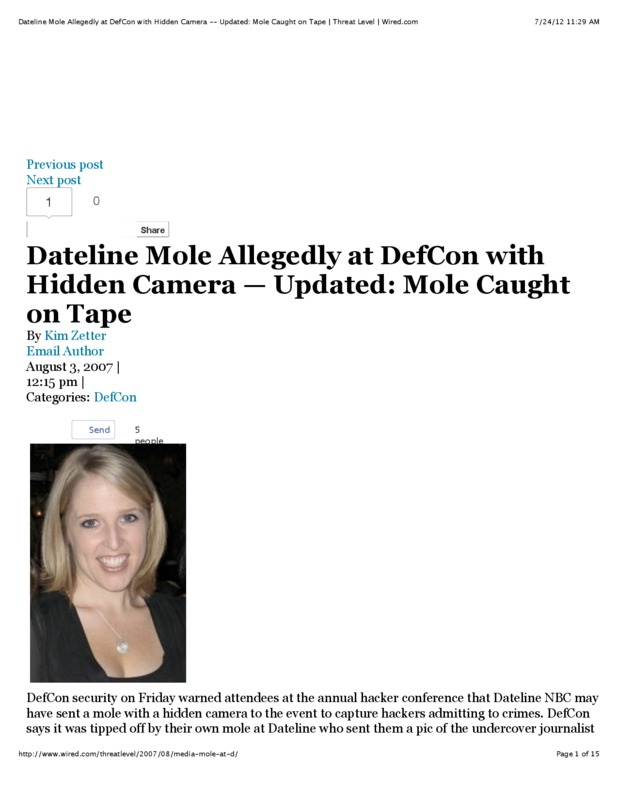 An NBC reporter brought a hidden camera to DefCon to try and expose an investigation. She ended up being the one exposed.