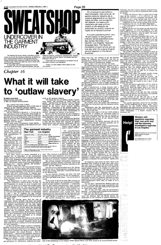 """Los Angeles Herald Examiner article titled,""""What it will take to 'outlaw slavery.'"""" Written by Merle Linda Wolin."""