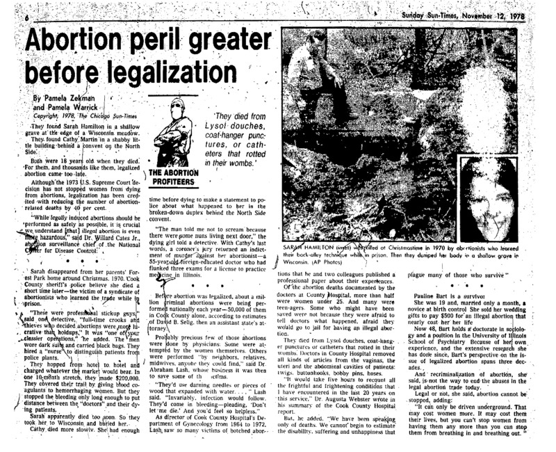 """Chicago Sun-Times article titled, """"Abortion Peril Greater Before Legalization."""" Written by Pamela Zekman and Pamela Warrick."""