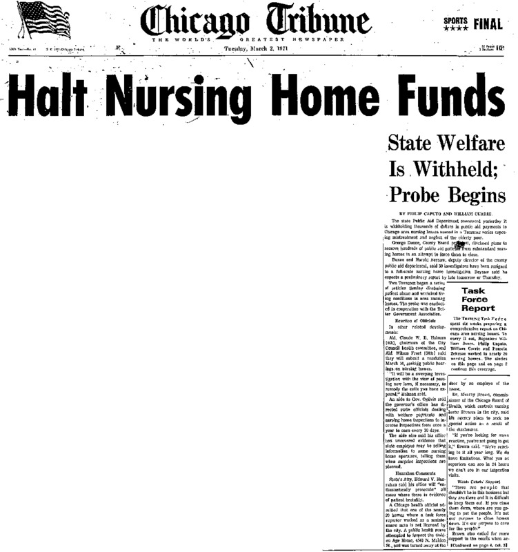 """Chicago Tribune article titled, """"Halt Nursing Home Funds."""" Written by Philip Caputo as part of the reaction to the nursing home exposé."""