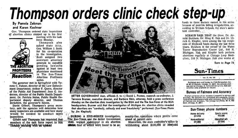 "Chicago Sun-Times article titled, ""Thompson Orders Clinic Check Step-Up."" Written by Pamela Zekman and Karen Koshner as part of the reaction to the ""Abortion Profiteers"" series."