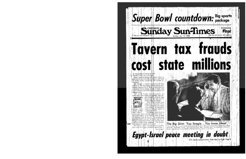 """Chicago Sun-Times article titled, """"Tavern Tax Frauds Cost State Millions."""" Written by Pamela Zekman and Zay N. Smith as part of the Mirage Tavern sting series."""