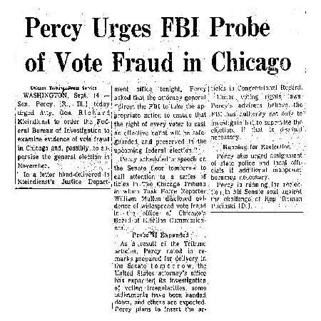 """Chicago Tribune article titled, """"Percy Urges FBI Probe of Vote Fraud in Chicago."""" Written by an Unsigned author as part of the reaction to the Task Force Vote Fraud Investigation."""