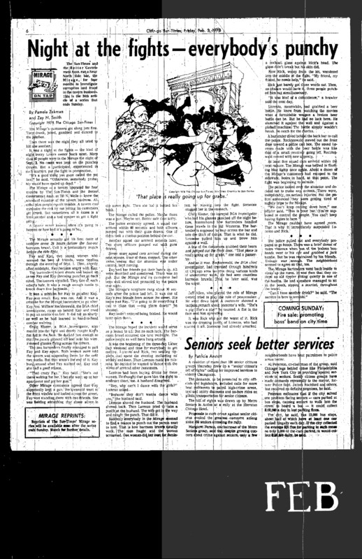 """Chicago Sun-Times article titled, """"Night at the Fights – Everybody's Punchy."""" Written by Pamela Zekman and Zay N. Smith as part of their Mirage series."""