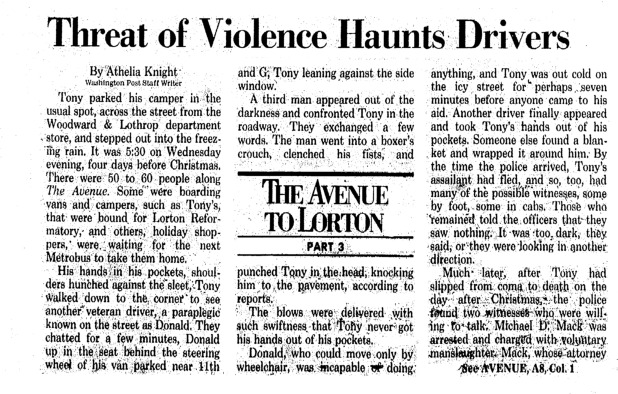 """Washington Post article titled, """"Threat of Violence Haunts Drivers."""" Written by Athelia Knight as part of the Lorton series."""