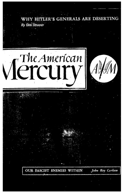 "American Mercury Magazine article titled, ""Our Fascist Enemies Within."" Written by John Roy Carlson."