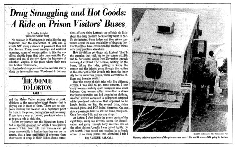 """Washington Post article titled, """"Drug Smuggling and Hot Goods: A Ride on Prison Visitors' Buses."""" Written by Athelia Knight as part of the Lorton series."""