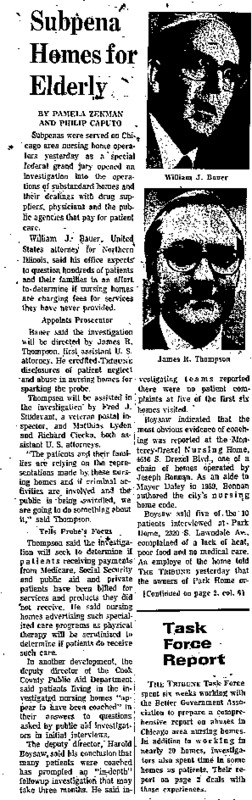 """Chicago Tribune article titled, """"Subpena Homes for Elderly."""" Written by Pamela Zekman in reaction to the nursing home investigation."""