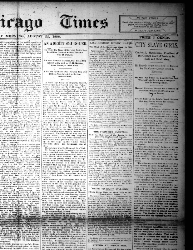 "Chicago Times article titled, ""City Slave Girls: Charles L. Hutchinson, President of the Chicago Board of Trade on Female and Child Labor."" Written by Charles L. Hutchinson."