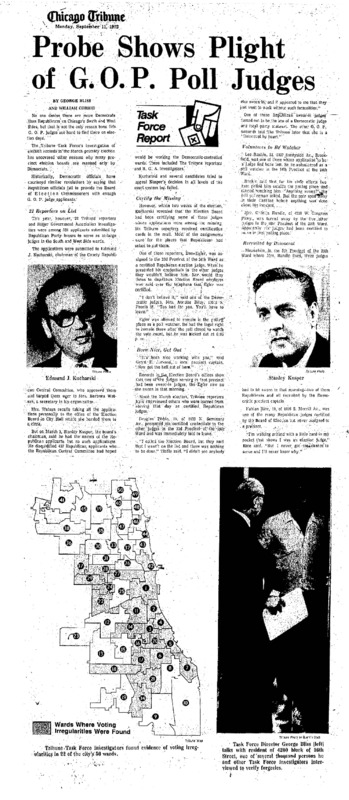 """Chicago Tribune article titled, """"Probe Shows Plight of G.O.P. Poll Judges."""" Written by George Bliss and William Currie as part of the Task Force Vote Fraud Investigation."""