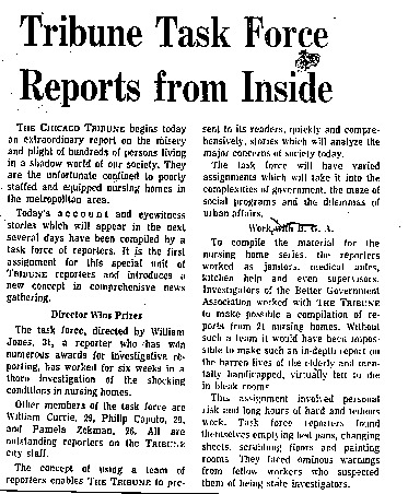 """Chicago Tribune article titled, """"Tribune Task Force Reports from Inside."""" Written as part of the nursing home exposé."""