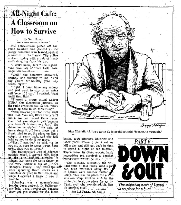 "Washington Post article titled, ""All-Night Cafe: A Classroom on How to Survive."" Written by Neil Henry in 1980."