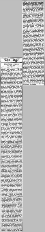 """The Age Editorial titled, """"Melbourne, Friday, 18th May, 1883."""""""
