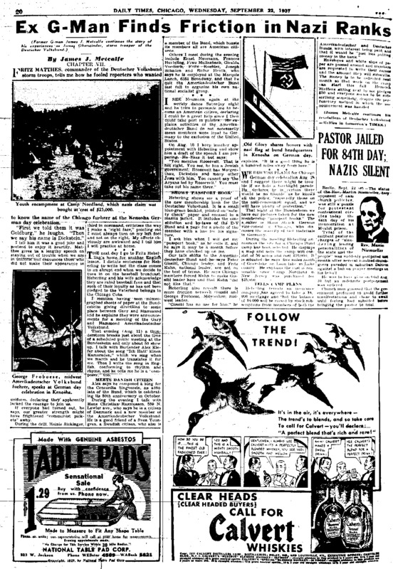 "Chicago Daily Times article titled, ""Ex G-Man Finds Friction in Nazi Ranks."" Written by James J. Metcalfe and John C. Metcalfe."