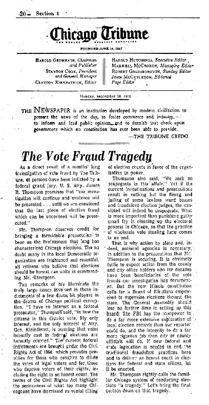 """Chicago Tribune article titled, """"The Vote Fraud Tragedy."""" The article was Unsigned and written as part of the Task Force Vote Fraud Investigation."""