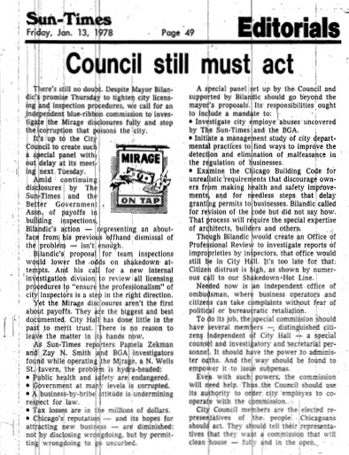 "Chicago Sun-Times article titled, ""Council Still Must Act."" Written in 1978 as part of Pamela Zekman and Zay N. Smith's Mirage Editorial."
