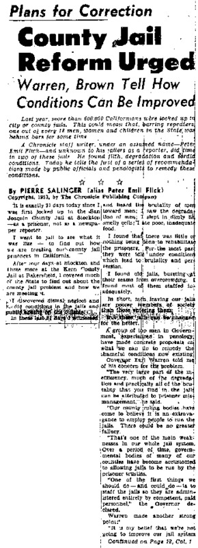 "San Francisco Chronicle article titled, ""County Jail Reform Urged."" Written by Pierre Salinger."