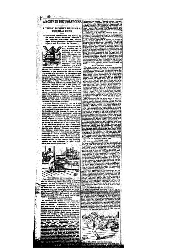 Article of unknown newspaper titled: A month in the Workhouse