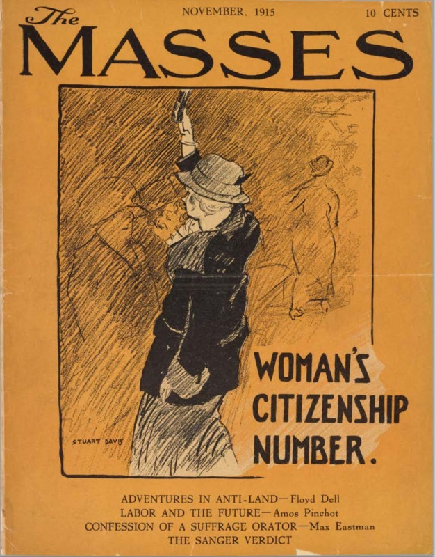 November, 1915 cover of 'The Masses.' Drawing of woman suffragette raising right hand. Text reads 'Woman's Citizenship Number.'