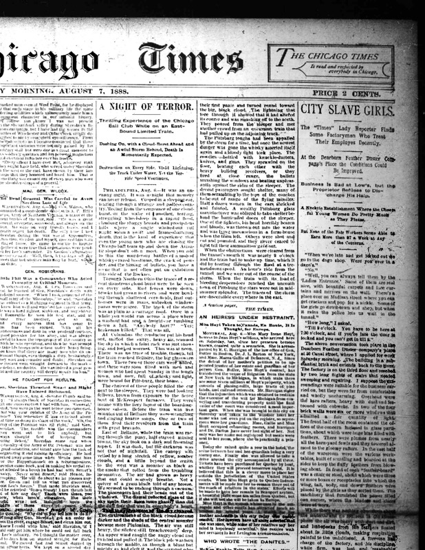 """Chicago Daily Times article Nell Nelson wrote as part of her series, """"City Slave Girls."""""""