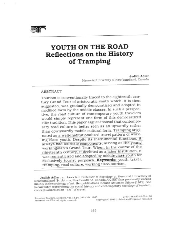 Judith Adler reflects on the history of tramping.