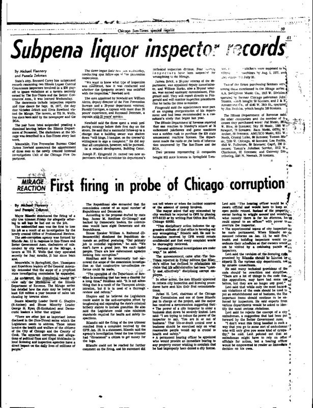 """Chicago Sun-Times article titled, """"First Firing in Probe of Chicago Corruption."""" Written by Michael Flannery and Pamela Zekman as part of the Mirage Reaction."""