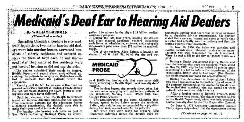"""New York Daily News article titled, """"Medicaid's Deaf Ear to Hearing Aid Dealers."""" Written by William Sherman as part of a medicaid fraud investigation series."""