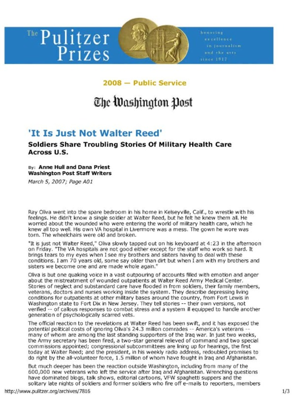 """Washington Post article titled, """"'It Is Just Not Walter Reed.'"""" Written by Anne Hull and Dana Priest."""